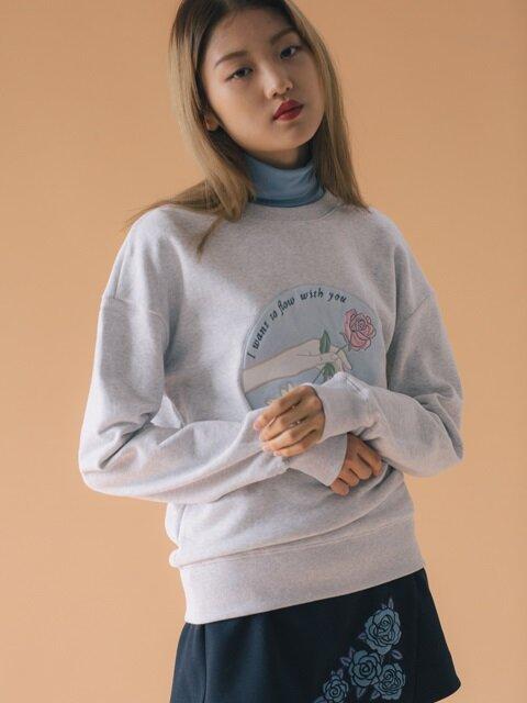 embroidery sweatshirt-ivory