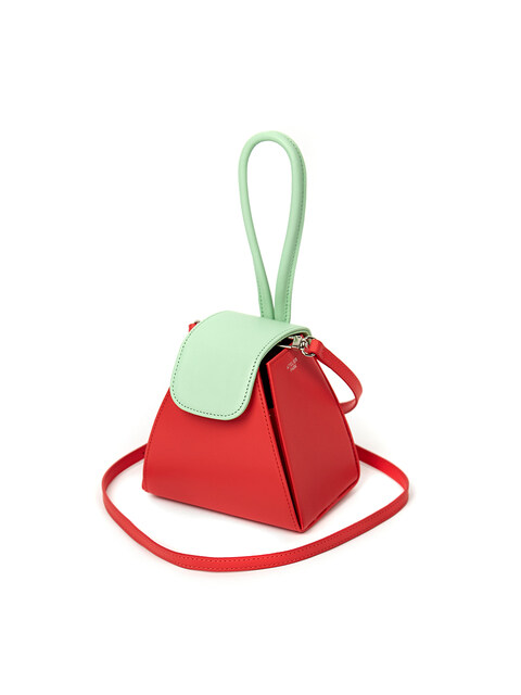 COLOR BLOCK HANDLE BAG / RED
