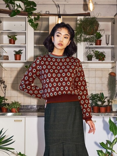 DAISY PATTERN COLOR MIX KNIT_BROWN