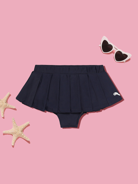 (PT-18379)PLEATS SKIRT PANTS NAVY