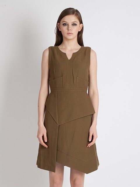 Summer Berghain No 3/7 Modern A-line Dress_Khaki