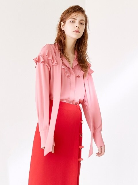 PUSSY BOW BLOUSE CORAL PINK