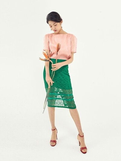 POINT STRIPES LACE SKIRT_GREEN