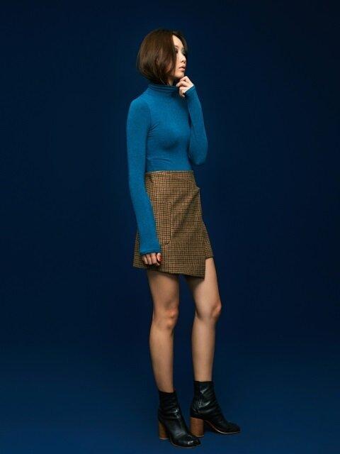 Wrap Mini Skirt in Beige