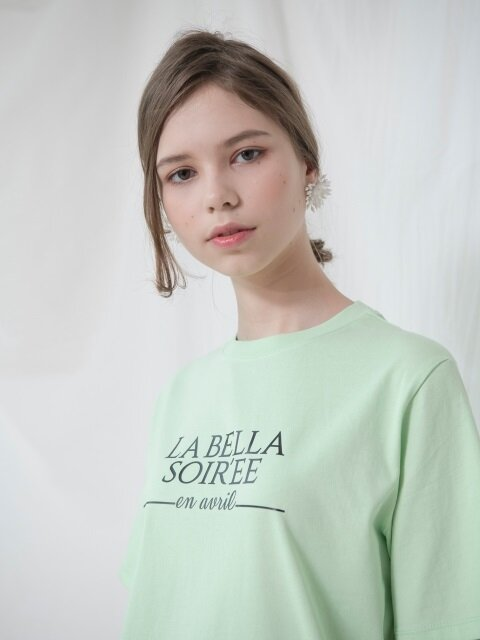 LETTERING HALF SLEEVES TOP_GREEN