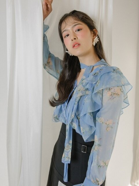 Flower scarf blouse (Blue)