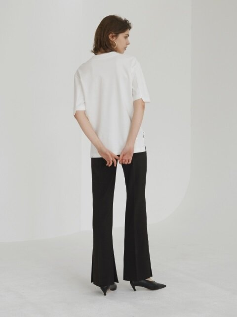 18SS SLIT FLARED TROUSERS BLACK