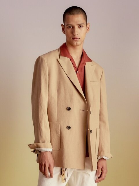AMSTERDAM LINEN DOUBLE BREASTED JACKET awa144m(Beige)