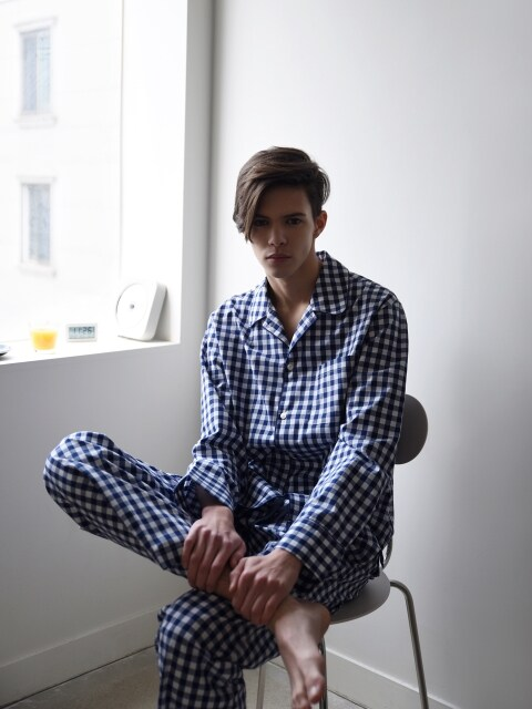 M Pajama Shirt  _ Navy check