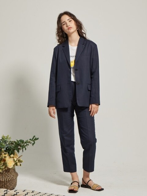 linen suit E-band pants
