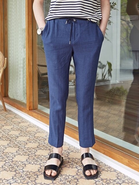 BUTTON STRING LINEN SLACKS_NAVY