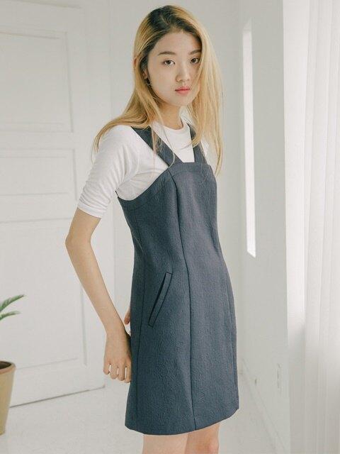 jacquard strap mini dress-navy