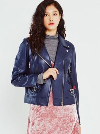Perfect Fit Lamb Skin Jacket in Navy