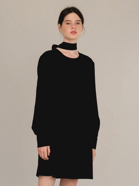 scarf dress-black