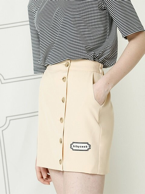 LOGO MINI SKIRT_BEIGE