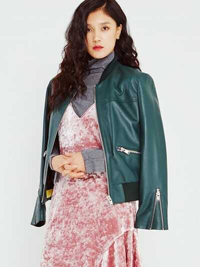 Leather Bomber Jumper in Green