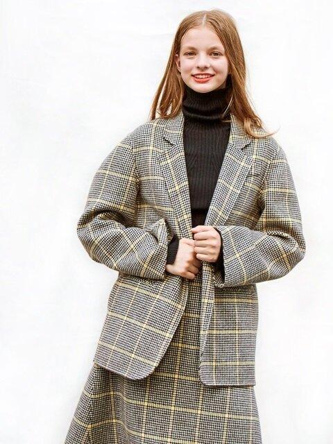 oversize handmade CHECK jacket [yellow]