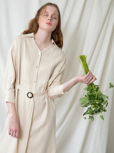 LINEN BUTTON POINT SHIRTS DRESS_YE