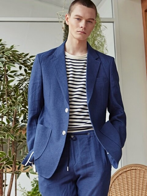 TAILORED LINEN SINGLE JACKET_NAVY