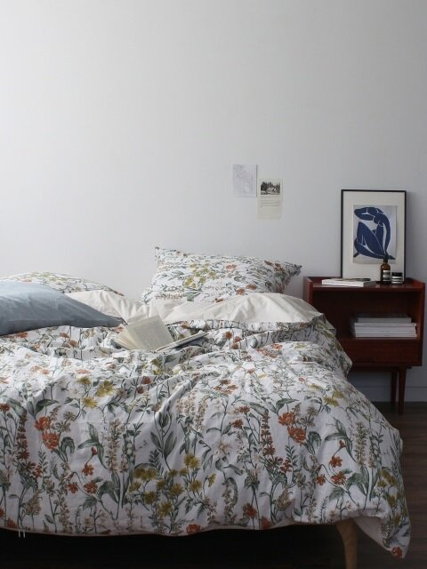 Linen flower bedding set (SS/Q)
