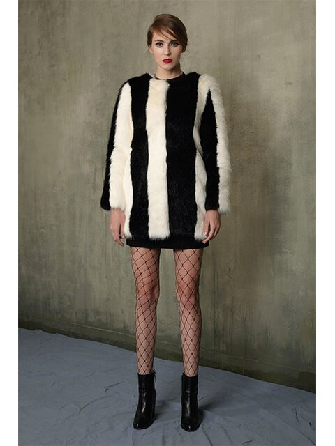 STRIPE FUR COAT_BLACKWHITE