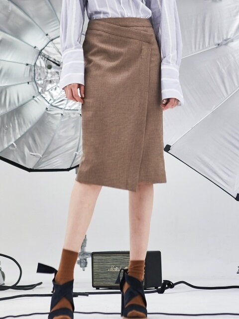 CHECK PATTERN WRAP SKIRT_BEIGE