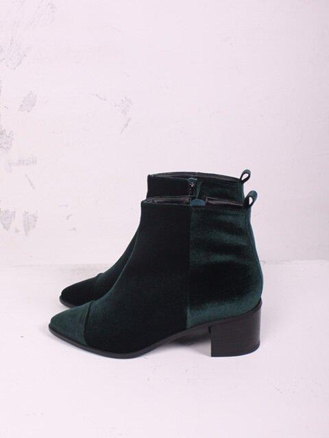 [BH 6170 GR ] Middle heel Velvet boots