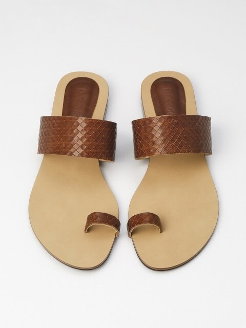 10mm Calfskin Square Embossed Sandal (Brown)