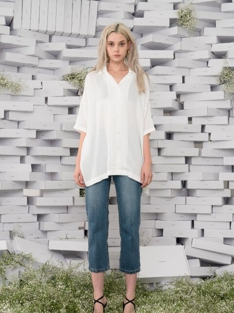 OVERSIZED LINEN BLOUSE _ WHITE
