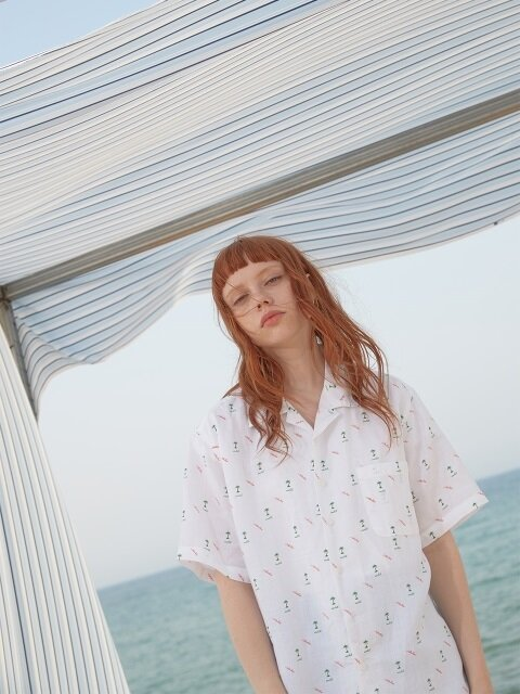 LINEN feather palm HAWAIAN SHIRTS / WHITE