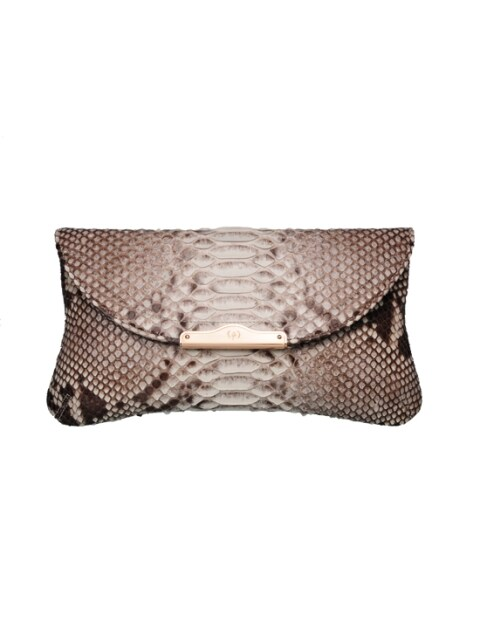 CHLOE REAL PYTHON CLUTCH - TWOTONE NATURAL