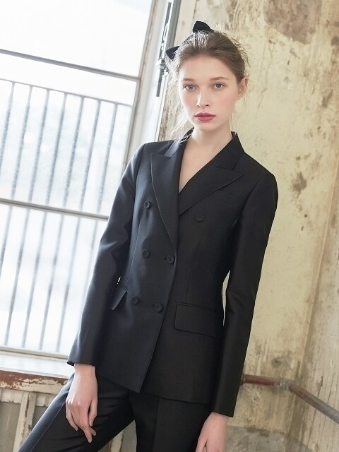[Ceremony l D7AMA5004M/BK] Bianca Mikado Slik Double Jacket