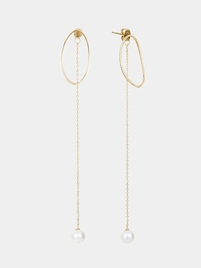 ONE POINT PEARL CHAIN EARRING