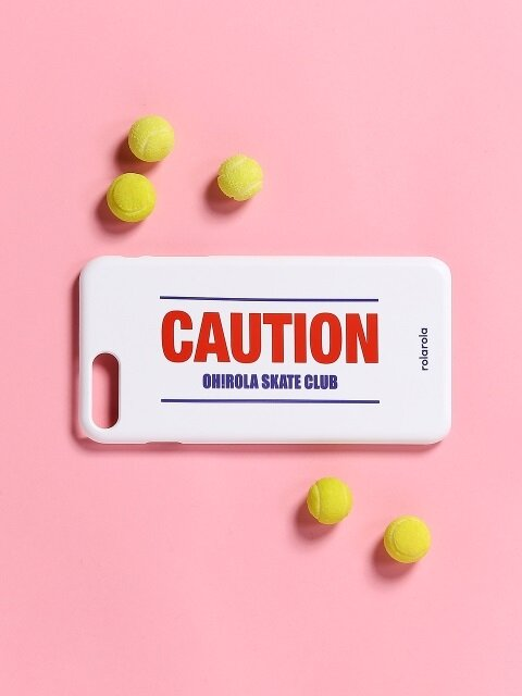 (ETC-012)CAUTION PHONE CASE WHITE