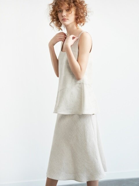 square neck linen two-piece