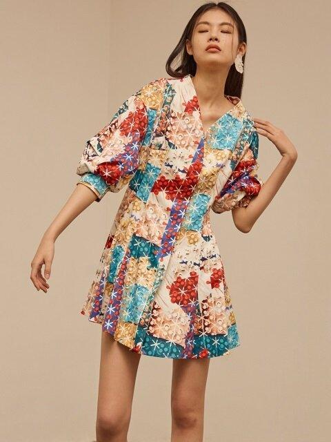 Mixcolor check v-neck dress