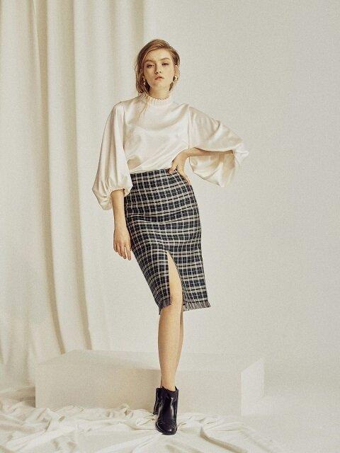 Eva Green Checkered Silk Skirt