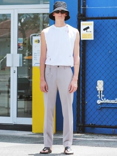 [ACC SET]Man Pink Beige Holy Long Wide Slacks