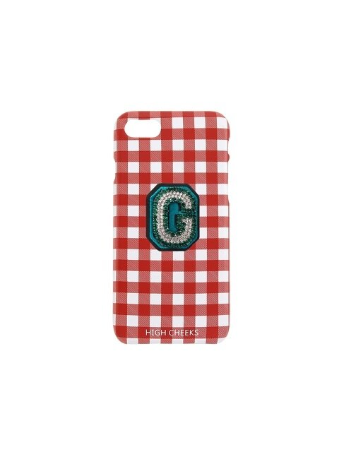 Initial Embellished Plastic Phone Case Red Check