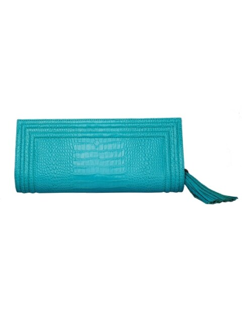 HELLEN CROCO CLUTCH - MINT