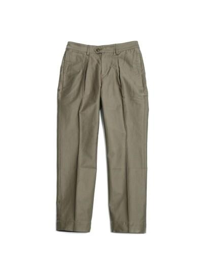 Millspaugh One tuck Cotton Pants Olive
