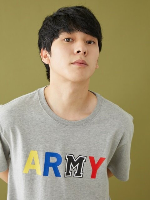 ARMY M PRINTED SS T-SHIRT GRAY
