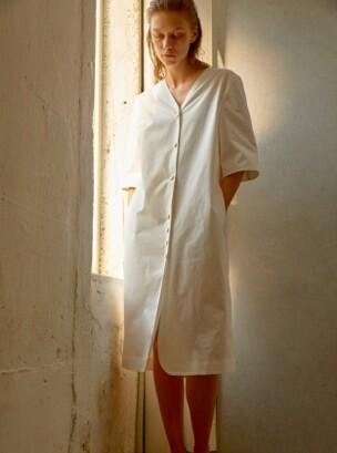 BUTTON DOWN DRESS - WHITE