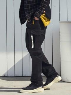 REGULAR BAGGY CARGO PANTS P815 - BLACK