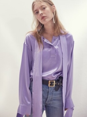 17SS NECK-TIE SILK-SATIN BLOUSE(LIGHT PURPLE)