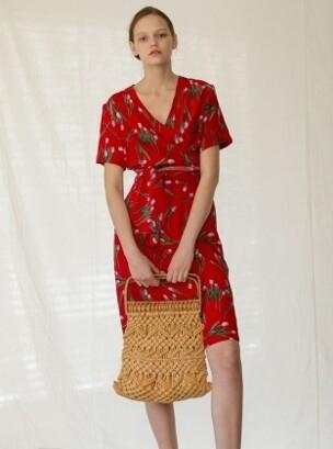 Tulip wrap dress (red)