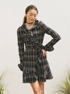 RUFFLE POINT SLEEVES CHECK WRAP ONEPIECE