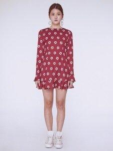 Daisy Back Ruffle Dress [WINE]