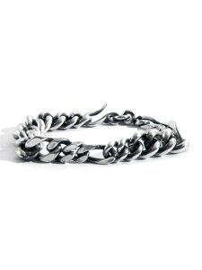 SILVER MIXED LINKS CHAIN BRACELET
