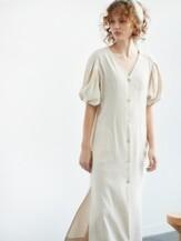 puff-sleeve dress